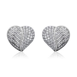 ELANZA Simulated Diamond Heart Cluster in Rhodium Plated Sterling Silver 4.77 Grams