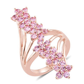 Designer Inspired- Hot Pink Sapphire (Rnd) Floral Ring in Rose Gold Overlay Sterling Silver  2.000 Ct, Silver wt 5.31 Gms.