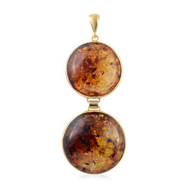 Baltic Amber Pendant in Yellow Gold Overlay Sterling Silver, Silver wt 8.00 Gms