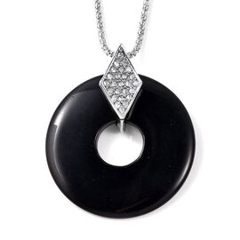 Simulated Black Spinel and White Austrian Crystal Circle Pendant with Chain in Silver Tone