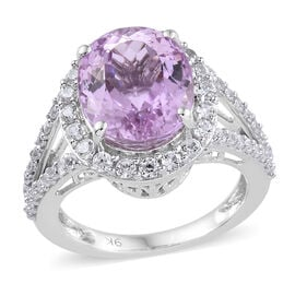 9K White Gold AA Kunzite (Ovl 6.25 Ct), Natural Cambodian Zircon Ring (Size Q) 7.500 Ct. Gold Wt 4.22 Gms