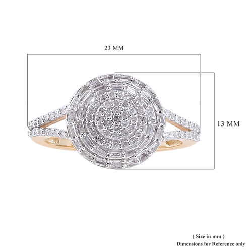 0.50 Ct Diamond Cluster Ring in 9K Gold SGL Certified I3 GH