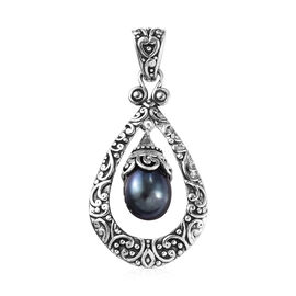 Freshwater Peacock Pearl Filigree Solitaire Teardrop Pendant in Sterling Silver