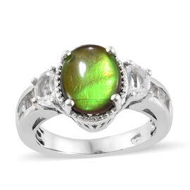 AA Canadian Ammolite White Topaz Solitaire Ring in Platinum Plated Silver