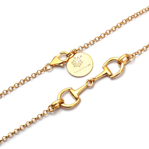Sundays Child 14K Gold Overlay Sterling Silver Snaffle Design Necklace (Size 30), Silver wt 26.00 Gms