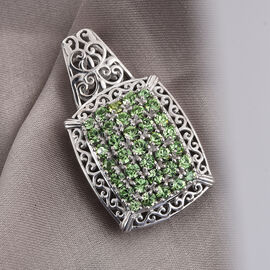 J Francis Crystal from Swarovski Peridot Colour Crystal Cluster Pendant in Silver Tone