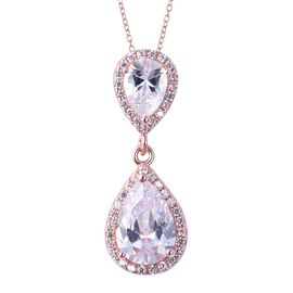 ELANZA Simulated Diamond Drop Pendant with Chain in Rose Gold Plated Sterling Silver