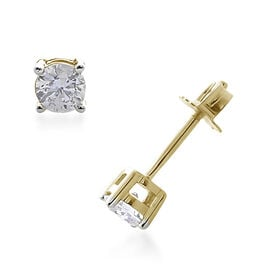 9K Yellow Gold Diamond (Rnd) Stud Earrings (with Push back) 0.250 Ct.