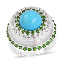 Arizona Sleeping Beauty Turquoise (Rnd), Freshwater Pearl, White Topaz and Hebei Peridot Ring in Rho