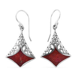Royal Bali Collection Sponge Coral Filigree Design Hook Earrings in Sterling Silver 0.001  Ct.