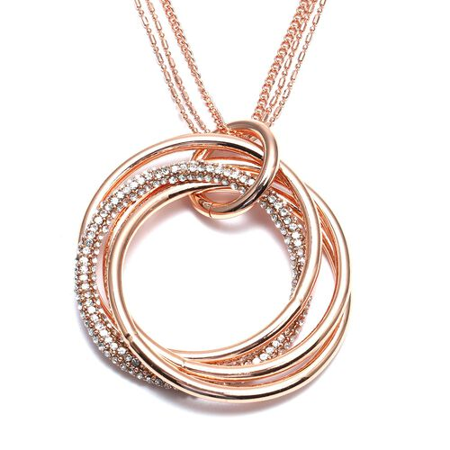 White Austrian Crystal Entwined Circles Pendant with Chain (Size 29 with 2 inch Extender) in Rose Go