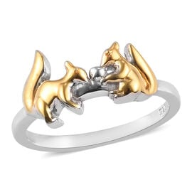 Platinum and Yellow Gold Overlay Sterling Silver Squirrel Ring