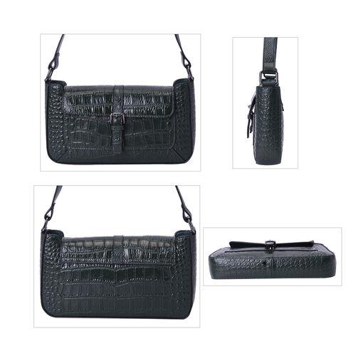 100% Genuine Leather Crocodile-Embossed Pattern Hobo Bag (28x5x16cm) with Adjustable Shoulder Strap - Black