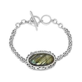 Labradorite (Ovl 30x15 mm) Bracelet (Size 7.5/8) in Platinum Plated 21.000 Ct.