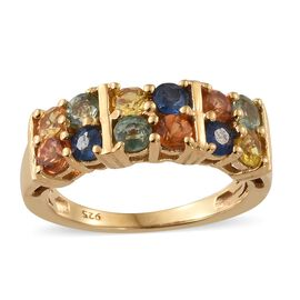 WEBEX- Rainbow Sapphire (Rnd) Band Ring in 14K Gold Overlay Sterling Silver 1.750 Ct