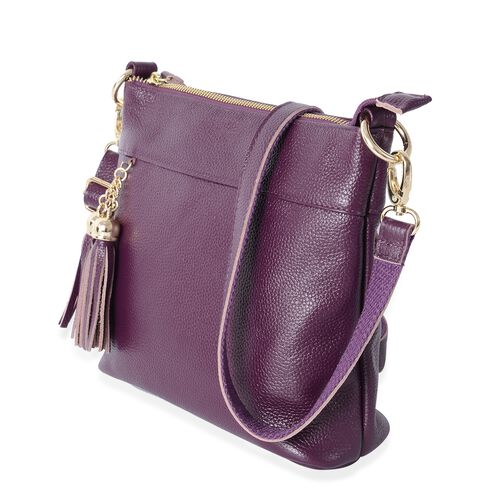 Super Soft100% Genuine Leather Purple Colour Cross Body Bag with tassels and Adjustable and Removable Shoulder Strap (Size 23x20x7.5 Cm)