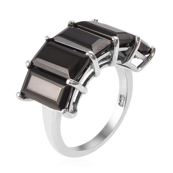 Elite Shungite (Bgt 10x5 mm) Five Stone Ring in Platinum Overlay Sterling Silver 4.50 Ct.
