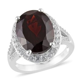 Mozambique Garnet (Ovl 16x12 mm), Natural Cambodian Zircon Ring in Platinum Overlay Sterling Silver