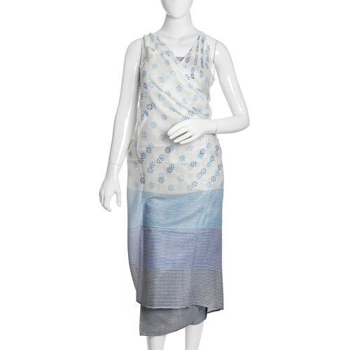 Limited Available- New Season Blue, Black and White Colour Floral Pattern Sarong (180cm x 100 cm)