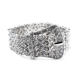 White Austrian Crystal Stretchable Buckle Bracelet (Size 6.5 - 8) in Silver Tone