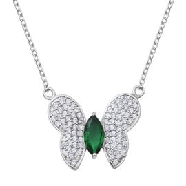ELANZA Simulated Emerald (Mango 10x5 mm), Simulated Diamond Butterfly Necklace (Size 19.75) in Rhodium Overlay Sterling Silver