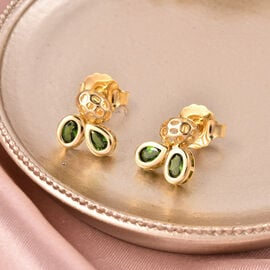 RACHEL GALLEY Misto Collection - AA Russian Diopside Earrings (with Push Back) in Yellow Gold Overlay Sterling Silver