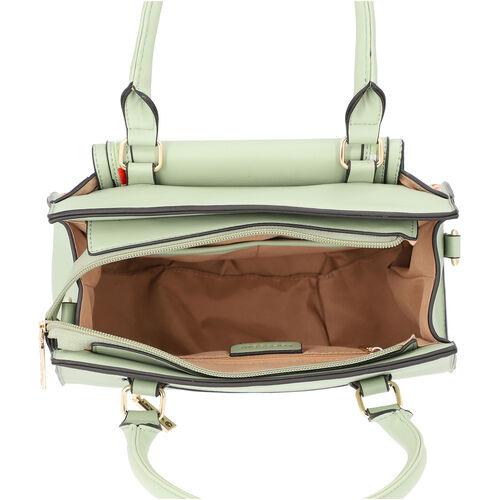 LOCK SOUL Mint Green Handbag with Detachable Shoulder Strap and Flap Pocket at Front (28x13x23cm)