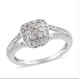 9K White Gold SGL Certifed Diamond (I3/G-H) Cluster Ring 0.50 Ct.
