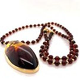 Natural Baltic Amber Necklace (Size 22) in Yellow Gold Overlay Sterling Silver