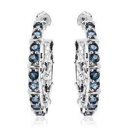 London Blue Topaz (Rnd), Blue Diamond Nature Inspired Earrings (with Push Back) in Platinum Overlay Sterling Silver 4.250 Ct.