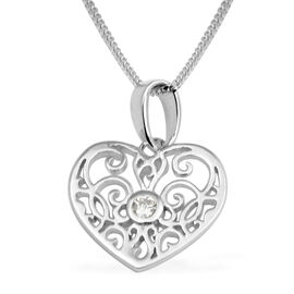 Cubic Zirconia Filigree Heart Pendant with Chain in Sterling Silver 18 Inch