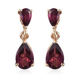 9K Yellow Gold Rhodolite Garnet (Pear) Drop Earrings 2.25 Ct.