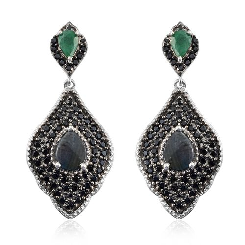 Natural Spectrolite (Pear),Boi Ploi Black Spinel and Kagem Zambian Emerald Earrings (with Push Back) in Platinum and Black Rhodium Overlay Sterling Silver 4.750 Ct. Silver wt. 8.21 Gms.No. of Gems 124