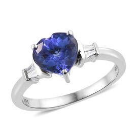 ILIANA  18K White Gold AAA Tanzanite (Hrt 8 mm 1.90 Ct), Diamond (SI/G-H) Ring  1.950 Ct.