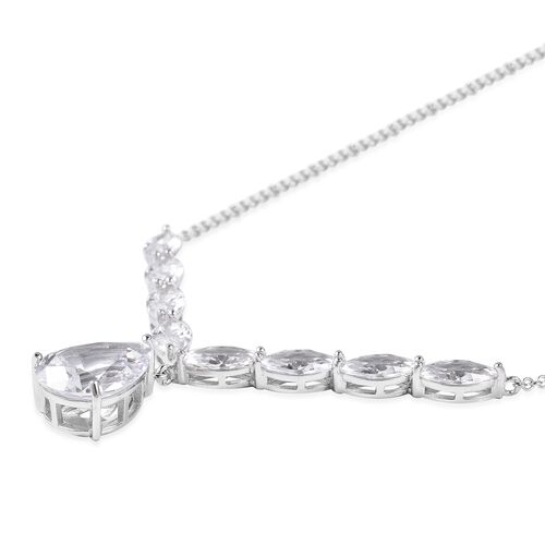 ELANZA Simulated Diamond (Pear and Mrq) Necklace (Size 18) in Rhodium Overlay Sterling Silver, Silver wt 7.16 Gms