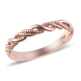 WEBEX- Rose Gold Overlay Sterling Silver Band Ring