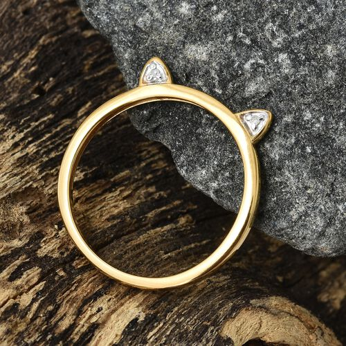 Diamond Cat Ear Stacking Ring in Gold Plated Silver