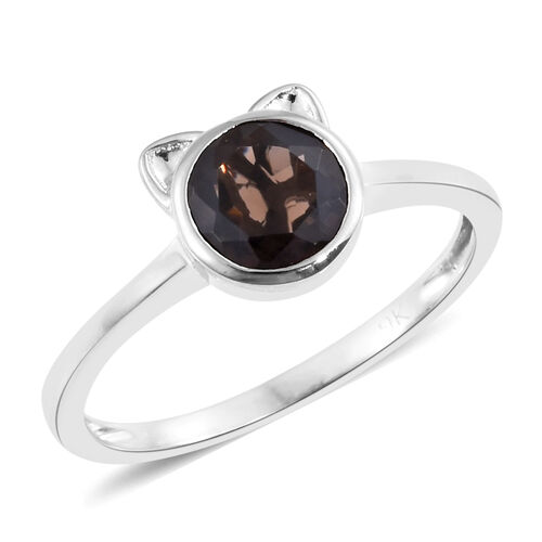 9K White Gold 1.40 Ct AA Brazilian Smoky Quartz Cat Ear Solitaire Ring