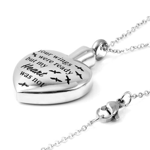 2 Piece Set - Engraved Memorial Heart Pendant with Chain (Size 20) and Funnel with Needle in Stainless Steel