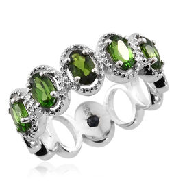 GP Russian Diopside (Ovl 1.20 Ct), Kanchanaburi Blue Sapphire Ring in Platinum Overlay Sterling Silver 1.250 Ct.
