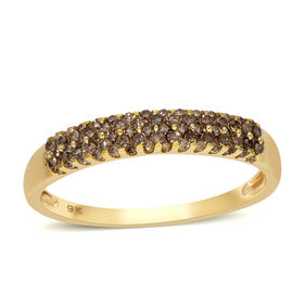 Limited Availability 9K Yellow Gold SGL Certified Natural Champagne Diamond (I3) Ring 0.50 Ct.
