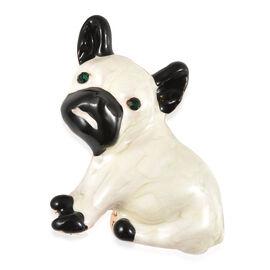 Green Austrian Crystal Enamelled Dog Brooch in Gold Tone