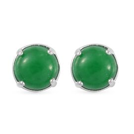 Green Jade Stud Earrings in Sterling Silver 4.00 Ct.