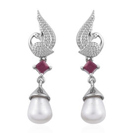 GP Freshwater Pearl and African Ruby Dangle Earrings in Platinum Plated Sterling Silver With Push Ba