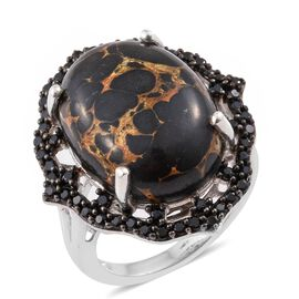 Arizona Mojave Black Turquoise (Ovl 13.40 Ct), Boi Ploi Black Spinel Ring in Platinum Overlay Sterling Silver 14.500 Ct.