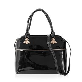 HONG KONG CLOSE OUT DEAL High Glossed Crystal Bee Design Black Colour Tote Bag (Size 32x25x12 Cm)