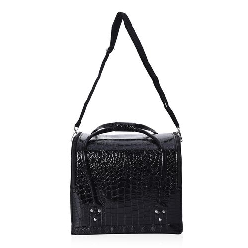 Croco Embossed 3-Tier Professional Makeup and Jewellery Organiser with 4 Extendable Trays, Removable Shoulder Strap and Zipper Closure (Size 30x24x26 Cm) - Black