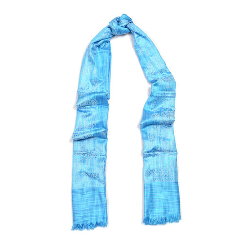 Blue Colour Woven Scarf (Size 180x70 Cm)