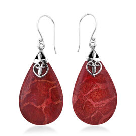 Royal Bali Collection Sponge Coral Drop Solitaire Earrings in Sterling Silver