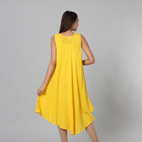 Tie & Dye Yellow Umbrella Dress in Floral and Leaf Pattern (Size upto 20)